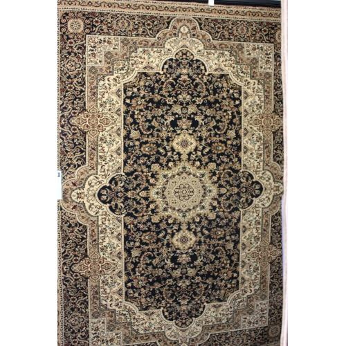 "Persian Design 1 Million Point Heatset Monalisa T06 Area Rugs by Rug Factory Plus - 5'4"" x 7'5"" / Black"
