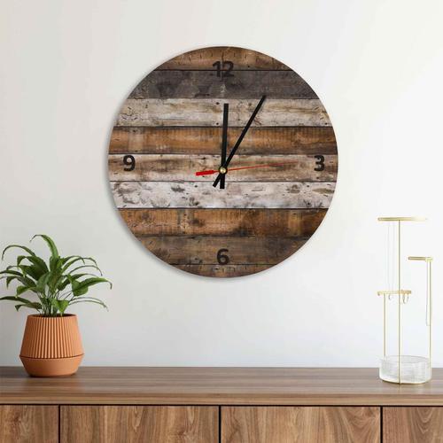 Grako Design - Rustic Wooden Background Round Square Acrylic Wall Clock