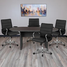 See Details - 5 Piece Rustic Gray Oval Conference Table Set with 4 Black and Chrome LeatherSoft Executive Chairs