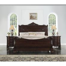 Saillans Solid Wood Construction QUEEN & KING Size Bed, Cherry Finish, Queen