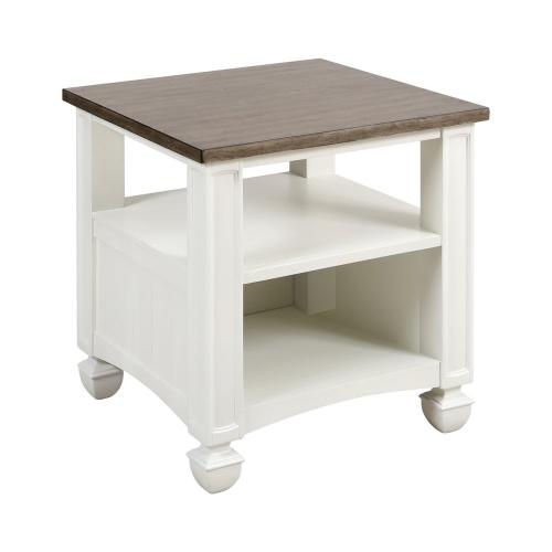 Stein World - Nantucket Accent Table In Off-white With Brown-grey Top - Large