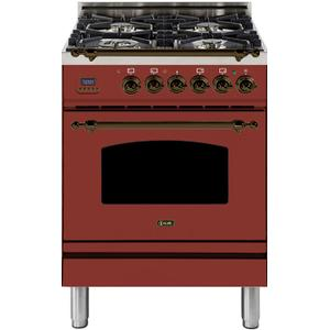 24 Inch Burgundy Dual Fuel Natural Gas Freestanding Range