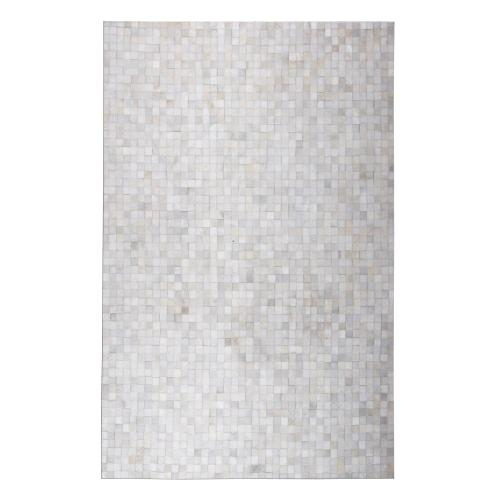 Durable Handmade Natural Leather Patchwork Cowhide Tikkul Area Rug by Rug Factory Plus - 5' x 7' / White