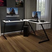 "L-Shaped Desk 71.5"" Computer Corner Desk, Home Office Corner Desk, Gaming Desk, Space Saving, Easy to Assemble, White\/Black"
