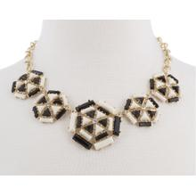 BTQ Gold Black and Cream Geometric Necklace