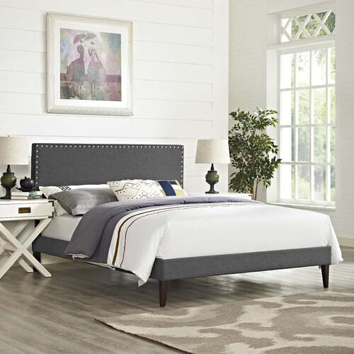 Macie Full Fabric Platform Bed with Squared Tapered Legs in Gray