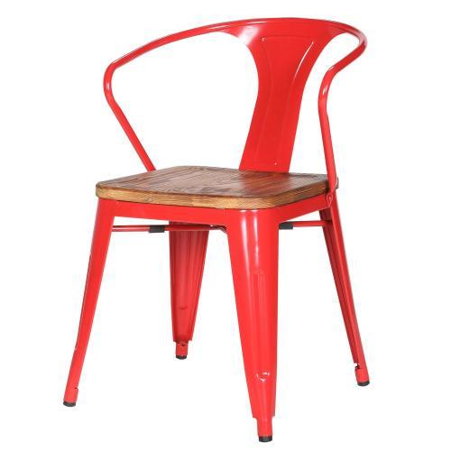 Metropolis Metal Arm Chair Wood Seat, Red