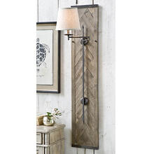 Wood Panel Herringbone Swing Arm Sconce