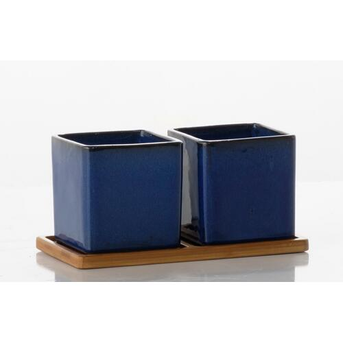 Alfresco Home - Loft Double Square Petits Pots w/ unattached bamboo saucer - Blue