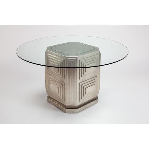 """Dining Table Base with Glass 27x27x30"""", glass top dia.60"""""""