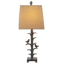 Distressed Grey Bird On Branch Table Lamp. 150W Max. 3 Way Switch.