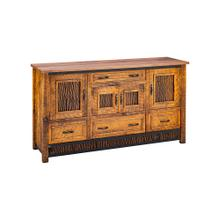 Mossy Oak Carver Point 2 Door 3 Drawer Server Natural Bark & Walnut Top