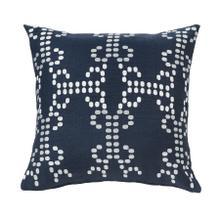 Kavali Navy Linen Throw Pillow W/ Embroidery, 18x18