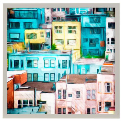 Style Craft - Looking at a Colorful City I  Made in USA  Artist Print  Faux Wood Frame Under Glass  Attached H