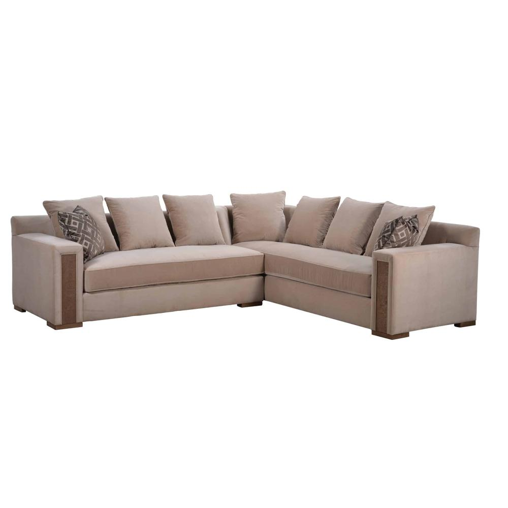 Prossimo Divano Crema Sectional Sofa with Bookcase
