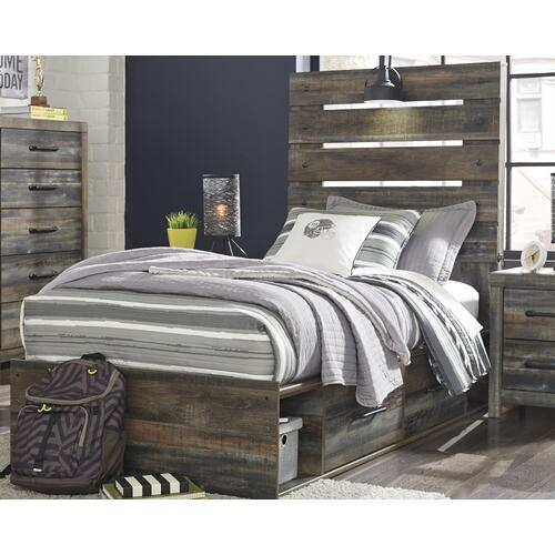 Twin Panel Bed With 4 Storage Drawers With Mirrored Dresser and 2 Nightstands