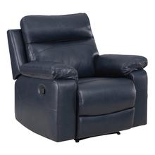 See Details - Bryson Recliner With Dark Navy Faux Leather