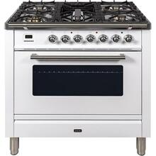 Professional Plus 36 Inch Gas Natural Gas Freestanding Range in White with Chrome Trim