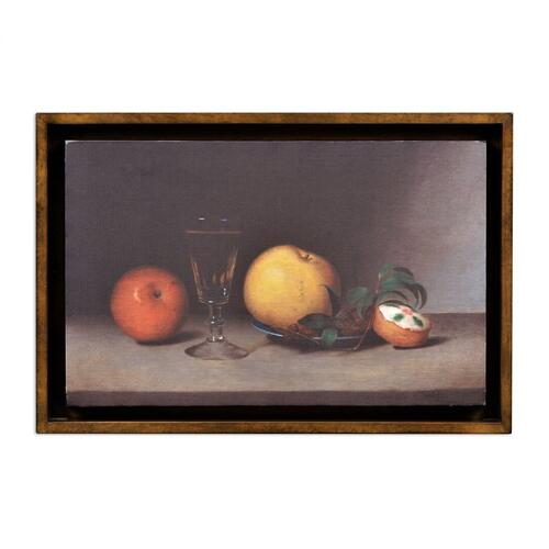 Still Life with Apples, Sherry, and Tea Cakes Painting on a Honey Walnut Frame