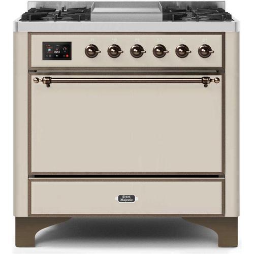 Ilve - Majestic II 36 Inch Dual Fuel Liquid Propane Freestanding Range in Antique White with Bronze Trim