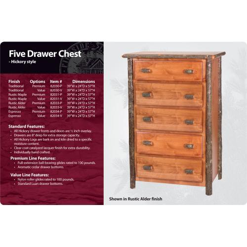 Hickory 5 Drawer Chest