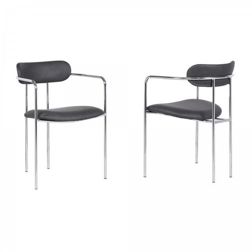 Gwen Contemporary Dining Chair in Chrome Finish with Grey Faux Leather - Set of 2