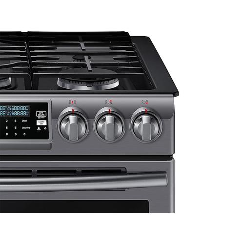 5.8 cu. ft. Slide-In Gas Range with True Convection in Black Stainless Steel