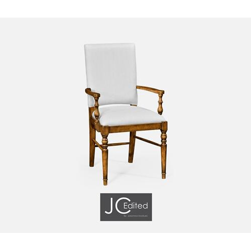 Country Walnut Armchair, Upholstered in COM