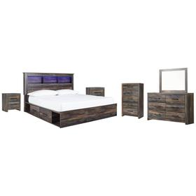 King Bookcase Bed With 2 Storage Drawers With Mirrored Dresser, Chest and 2 Nightstands