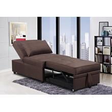See Details - BROWN LINEN PULL OUT CHAIR BED