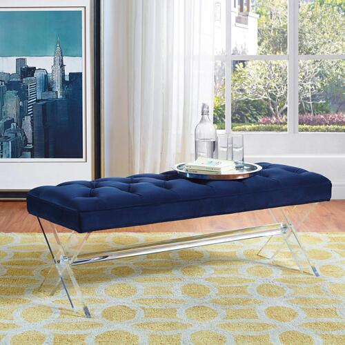Product Image - Claira Navy Lucite Bench