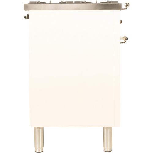 Nostalgie 36 Inch Dual Fuel Liquid Propane Freestanding Range in Antique White with Brass Trim