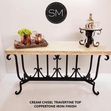 "Luxury Console Entryway Table Spiffy w/ Rectangular Cream Travertine Top - 59"" x 19"" Beveled / Peach Travertine / Coppertone"