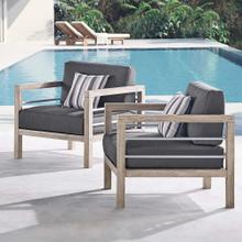 Wiscasset Outdoor Patio Acacia Wood Armchair Set of 2 in Light Gray