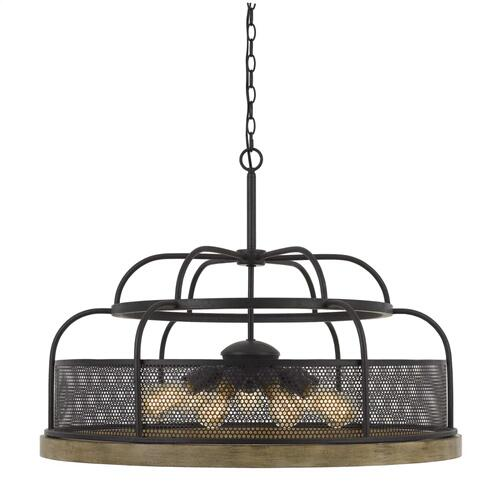 Akaki 60W X 9 Metal/Pine Wood Chandelier (Edison Bulbs Not included)