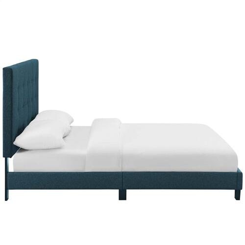 Modway - Melanie Full Tufted Button Upholstered Fabric Platform Bed in Azure
