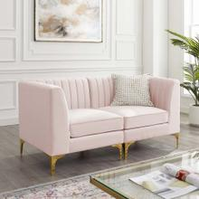 Triumph Channel Tufted Performance Velvet Loveseat in Pink