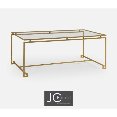 Gold-leaf gilded iron rectangular coffee table