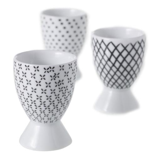 """2""""x 2.75"""" - Assorted S/3 Graphic Egg Cup"""