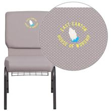 Embroidered HERCULES Series 18.5''W Gray Dot Fabric Church Chair with 4.25'' Thick Seat, Book Rack - Silver Vein Frame