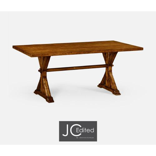 Medium solid country walnut topped dining table