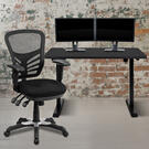"48"" Wide Black Electric Height Adjustable Standing Desk with Black Mesh Multifunction Executive Swivel Ergonomic Office Chair Product Image"