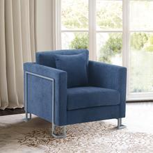See Details - Heritage Blue Fabric Upholstered Accent Chair with Brushed Stainless Steel Legs