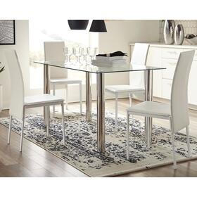 Sariden Table & 4 Chairs Chrome/White