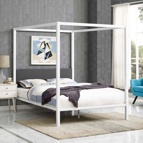 Modway - Raina Queen Canopy Bed Frame in White Gray