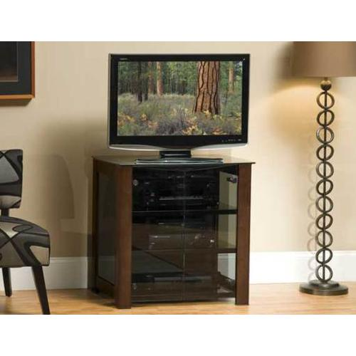 """Chocolate AV Component Stand Smoked tempered-glass doors - fits AV components and TVs up to 37"""""""