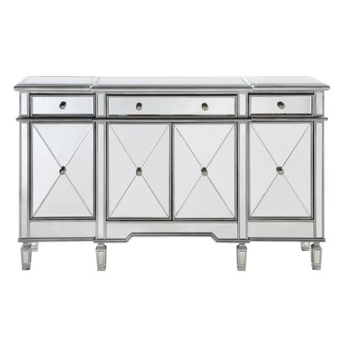 3 Drawer 4 Door Cabinet 60 in. x 14 in. x 36 in. in Silver Clear
