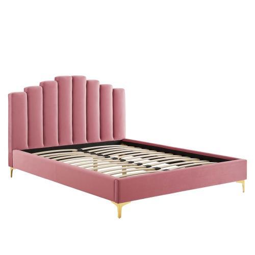 Olivia Queen Performance Velvet Platform Bed in Dusty Rose
