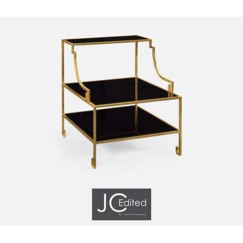 Three-tier gilded iron end table