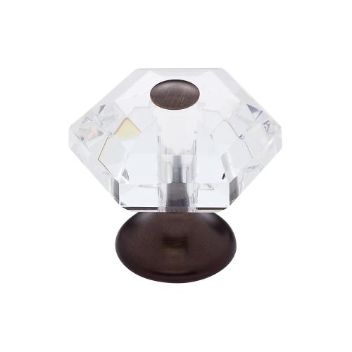 Old World Bronze 30 mm 6-Sided Crystal Knob